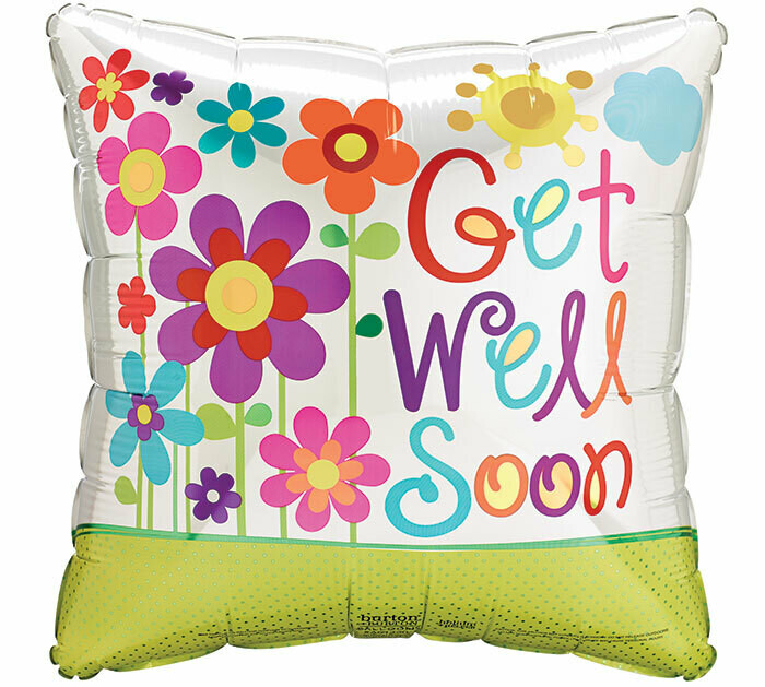 Get Well Soon Colorful Flowers Balloon