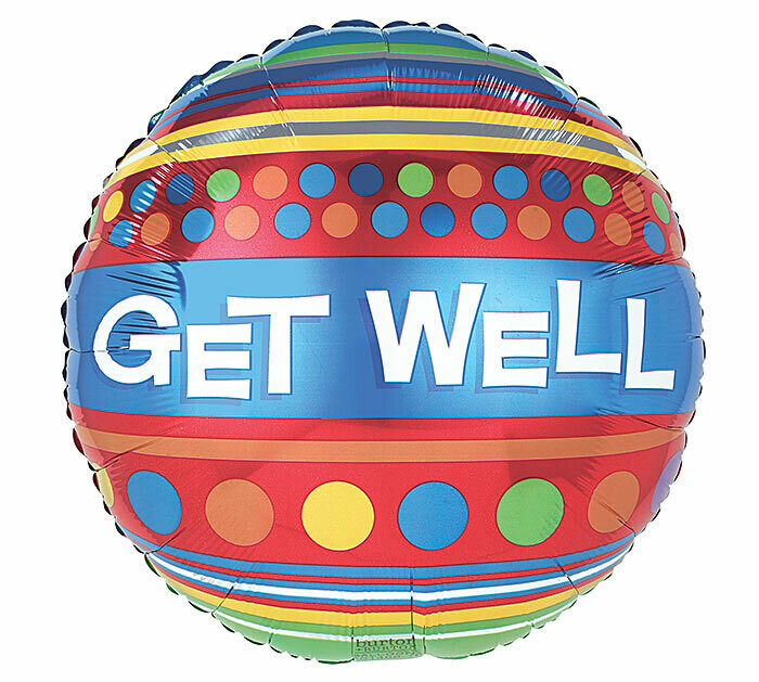Get Well Soon Bright Dots & Stripes Balloon