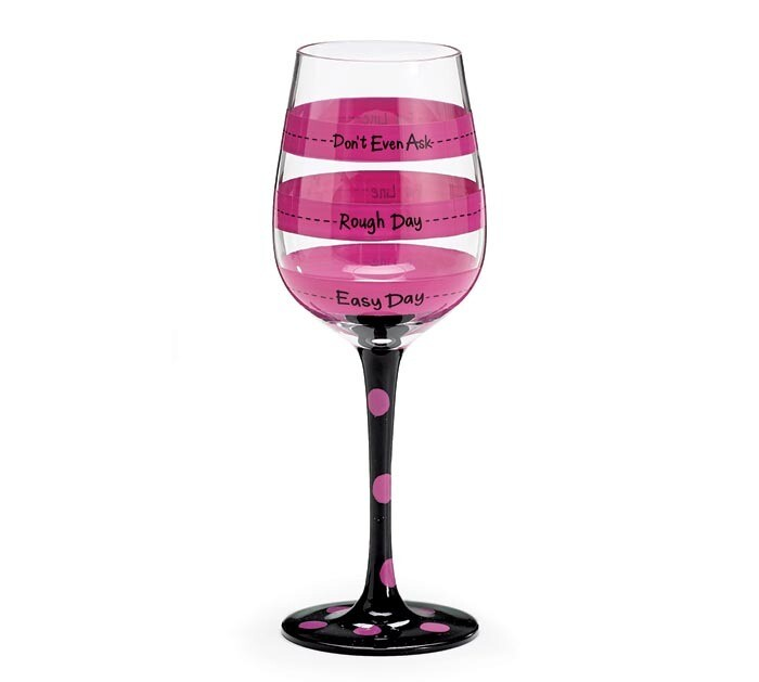 Easy Day/Rough Day Hand Painted Wine Glass