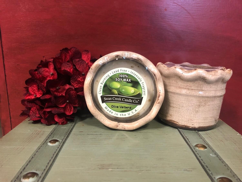 Swan Creek Olive Verbena Ruffled Pottery Candle