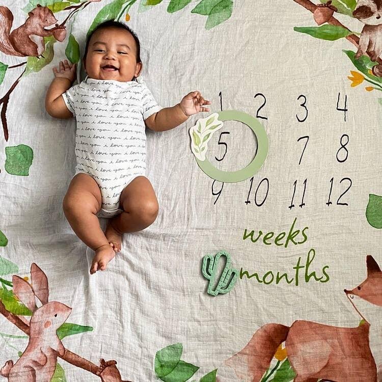 Woodland Milestone Baby Blanket