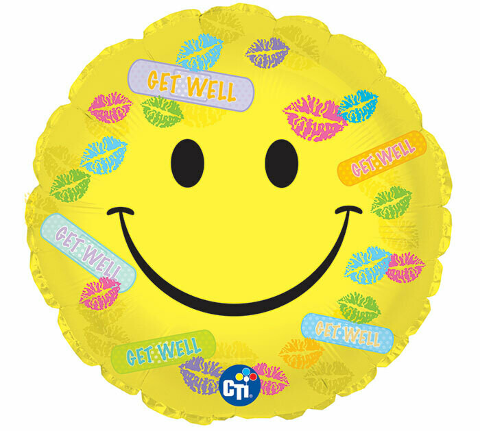 Get Well Soon Smiley Face Bandages Balloon