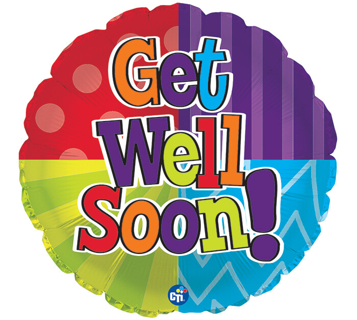 Get Well Soon Colorful Quadrants Balloon