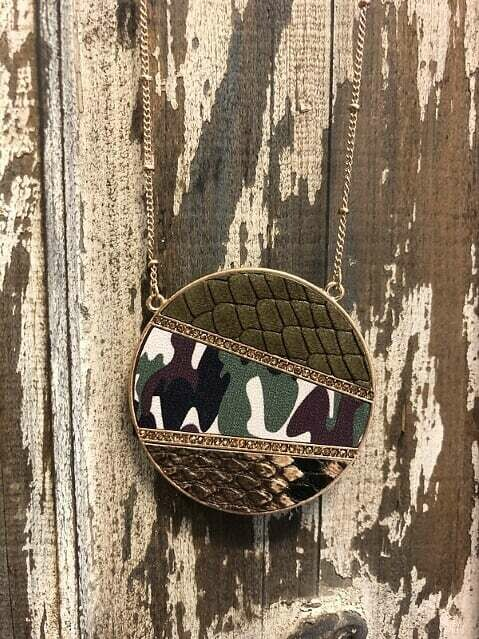 Long Camo Pendant Necklace