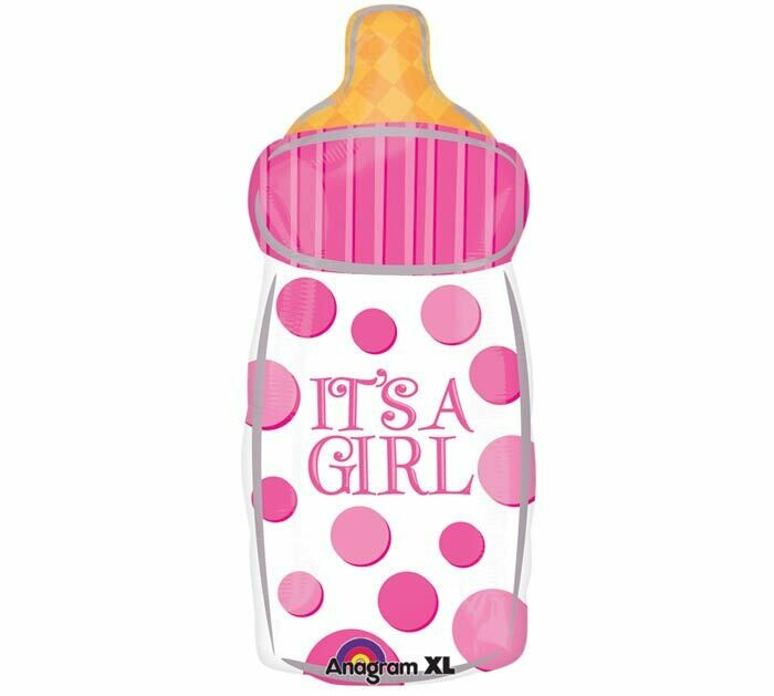 "It's A Girl Baby Bottle Balloon Oversized 24"""