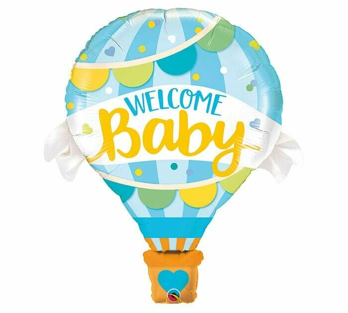 """Welcome Baby Blue Hot Air Balloon 42"""""""