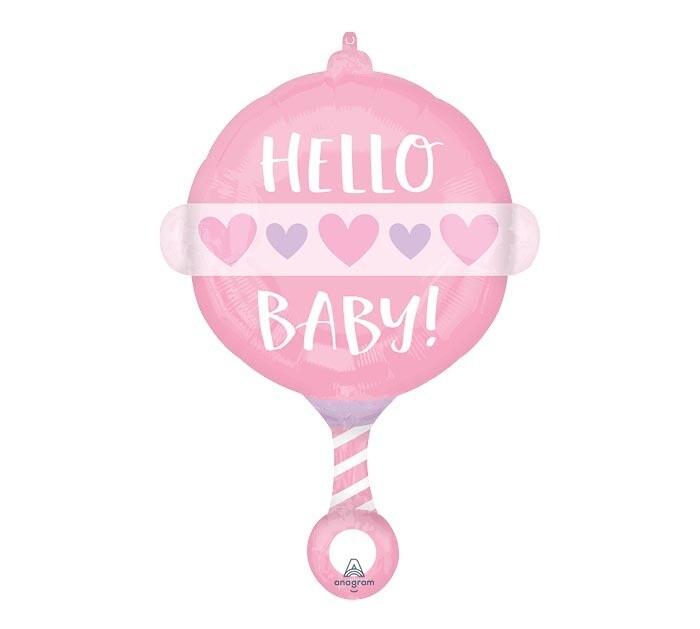 """Hello Baby Pink Rattle Balloon 24"""""""