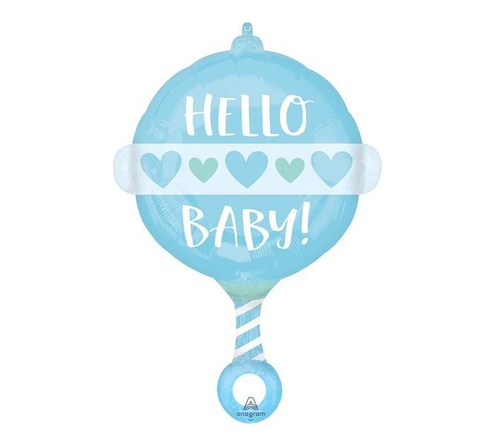 """Hello Baby Blue Rattle Balloon 24"""""""