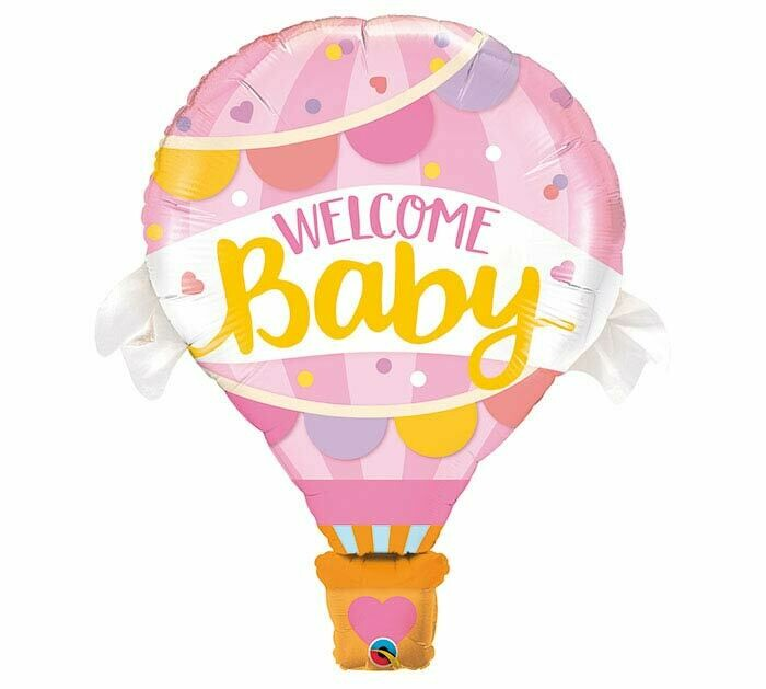 """Welcome Baby Pink Hot Air Balloon 42"""""""