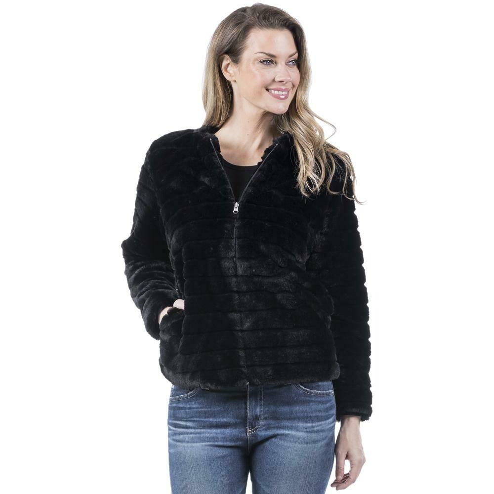Faux Rabbit Jacket Black