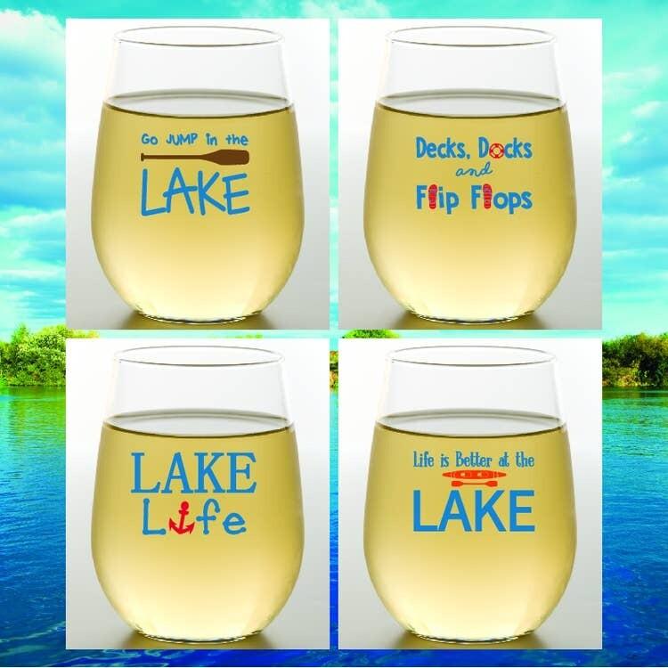 Lake Life Shatterproof Wine Glasses