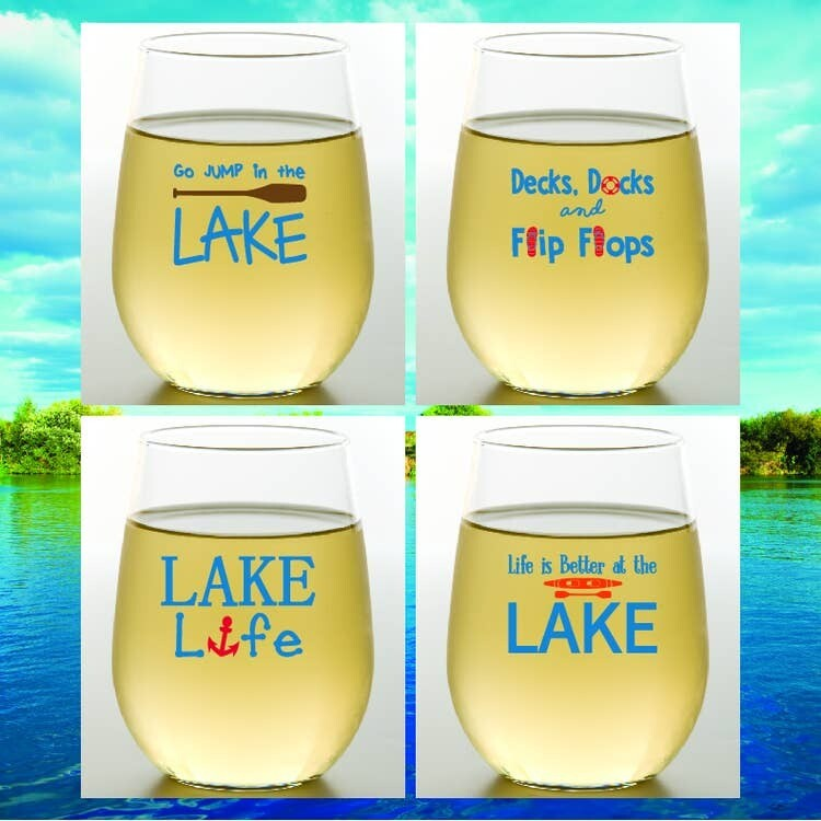 Lake Life Shatterproof Wine Glasses