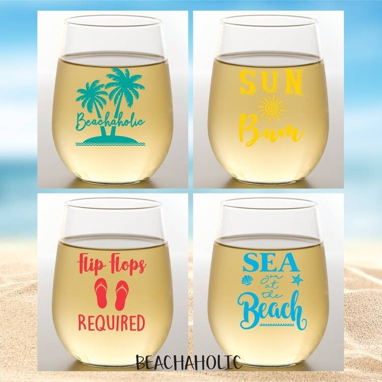 Beachaholic Shatterproof Wine Glasses