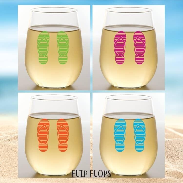 Flip Flops Shatterproof Wine Glasses