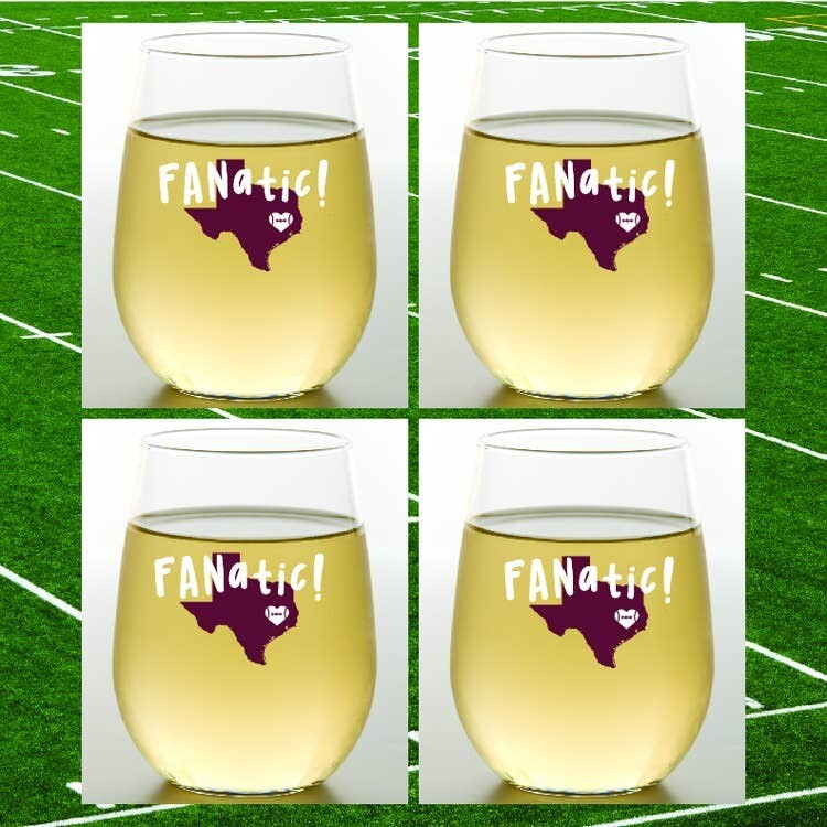 Texas A&M Fanatic Shatterproof Wine Glasses