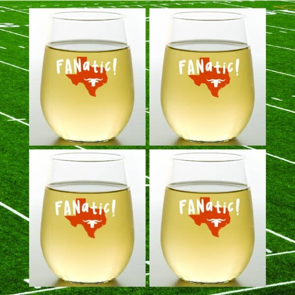 Longhorn Fanatic Shatterproof Wine Glasses