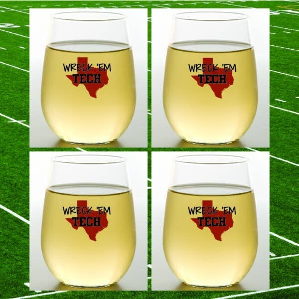 Texas Tech Wreck 'Em Shatterproof Wine Glasses