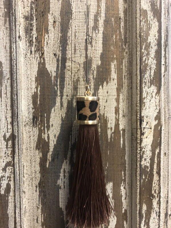 Long Leopard Tassel Necklace on Gold Chain