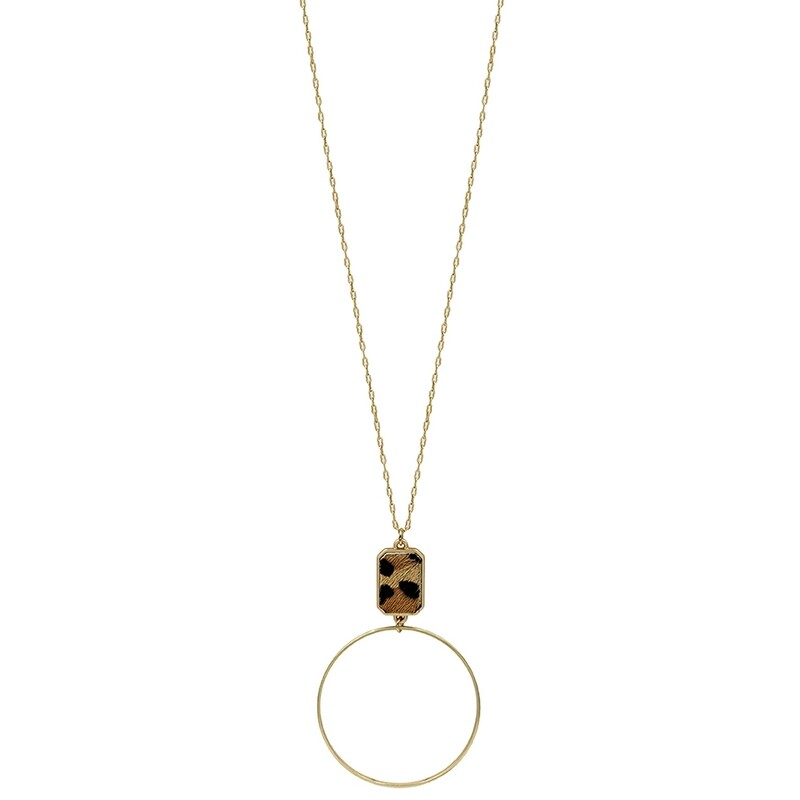 Long Gold Hoop with Leopard Accent Necklace