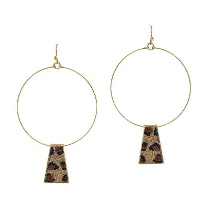 Gold Hoop Earrings with Leopard Cowhide Accent