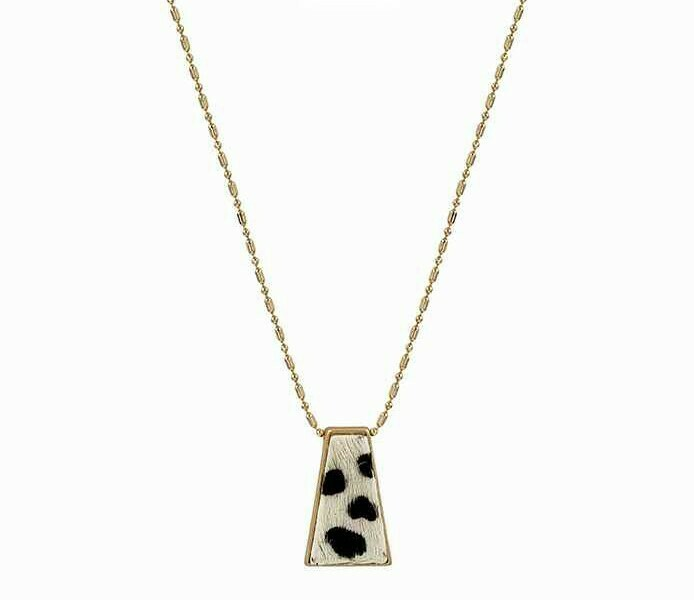 Snow Leopard Cowhide Pendant Necklace