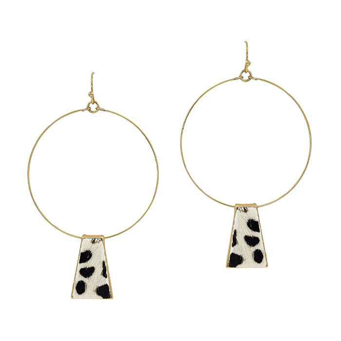 Gold Hoop Earrings with Snow Leopard Cowhide Accent