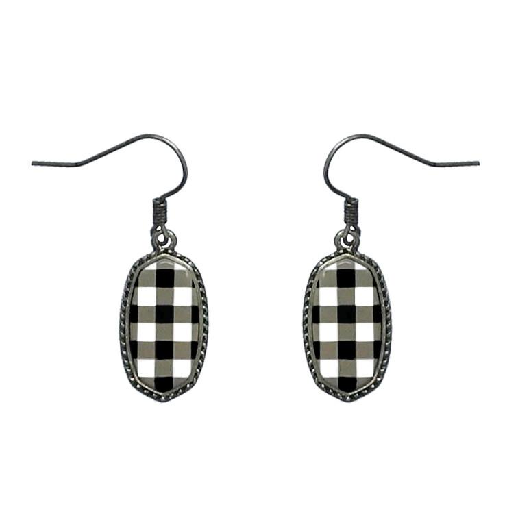 Black/White Buffalo Plaid Earrings
