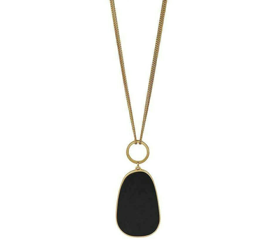 Black Wood Pendant Necklace