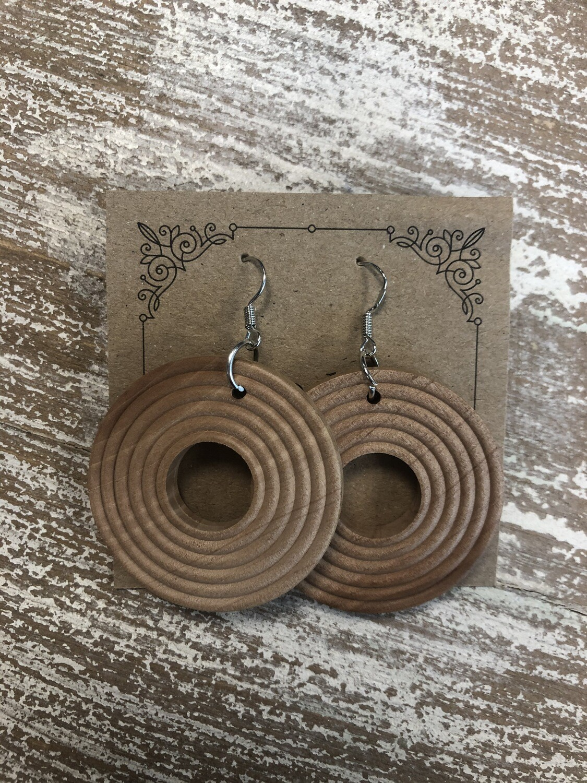 Round Light Wood Earrings