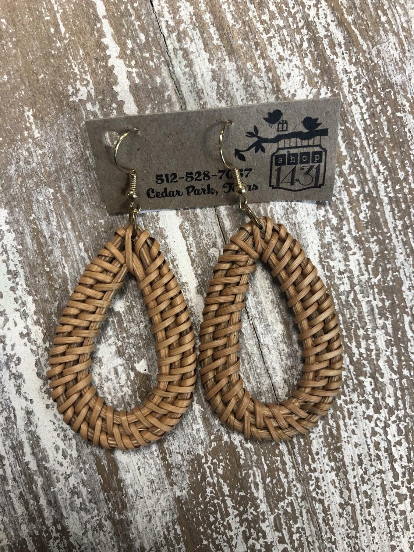Oval Hoop Rattan Earrings