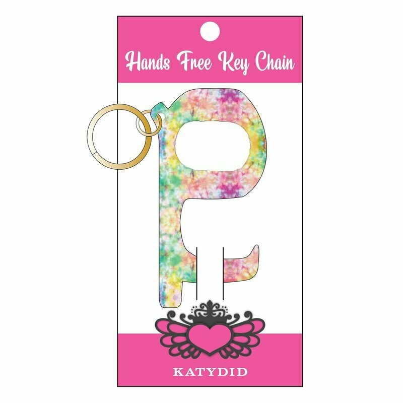 Hands-Free No-Touch Key Chain Pastel Tie Dye