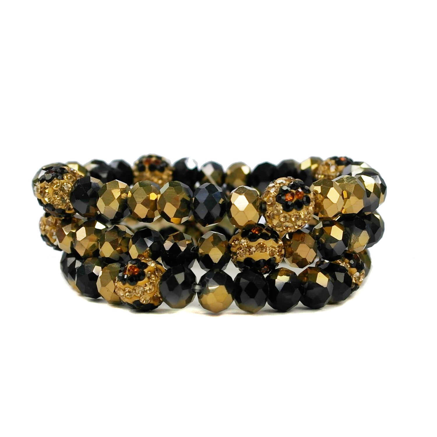 Black/Gold Shambala Bracelet Set