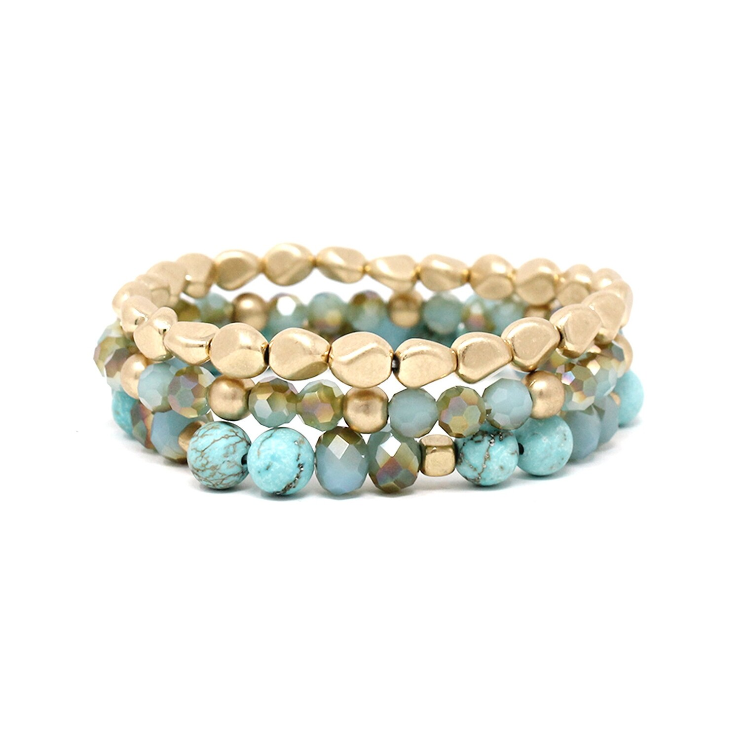 Gold and Turquoise Nugget Bracelet Set