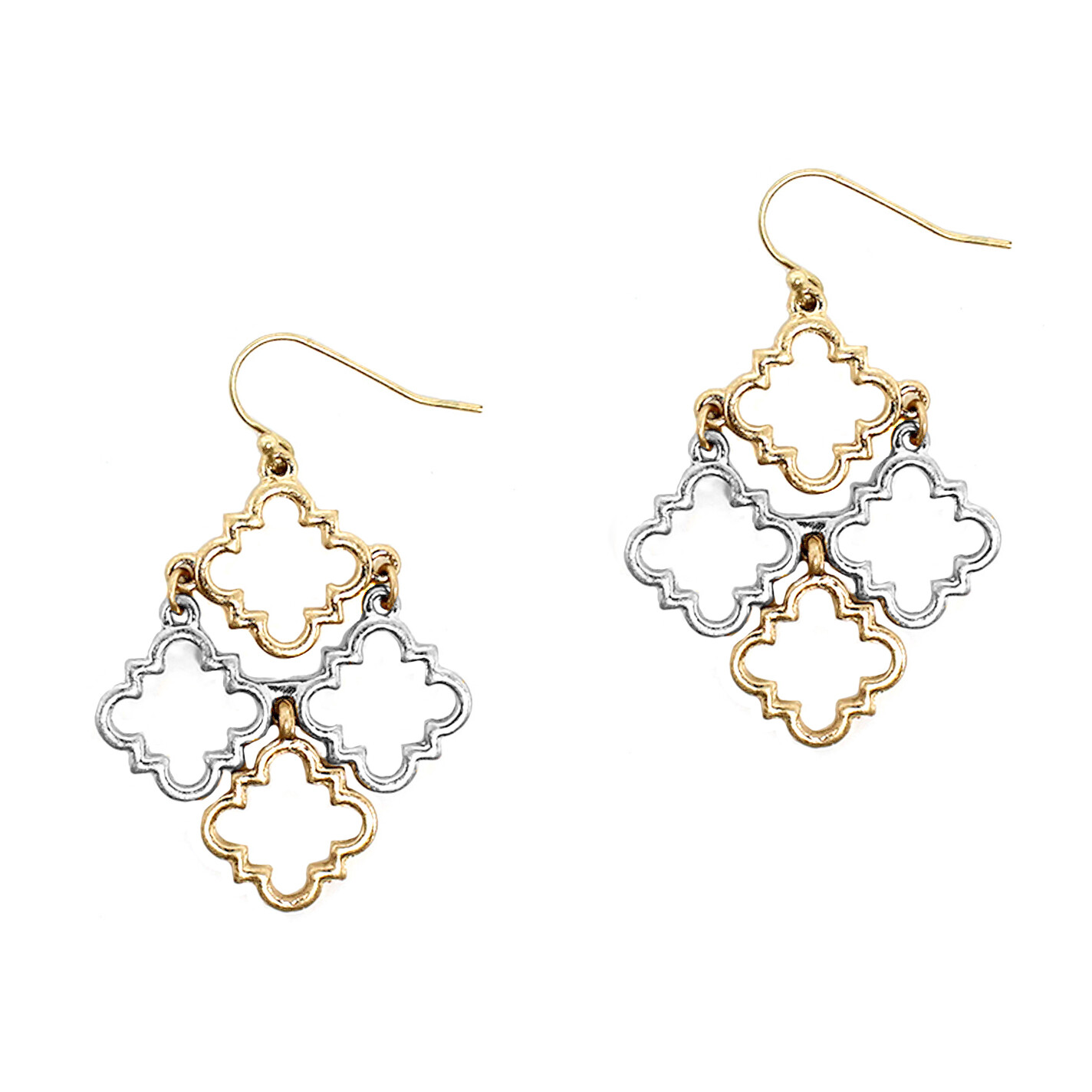 Gold/Silver Quatrefoil Cluster Earrings