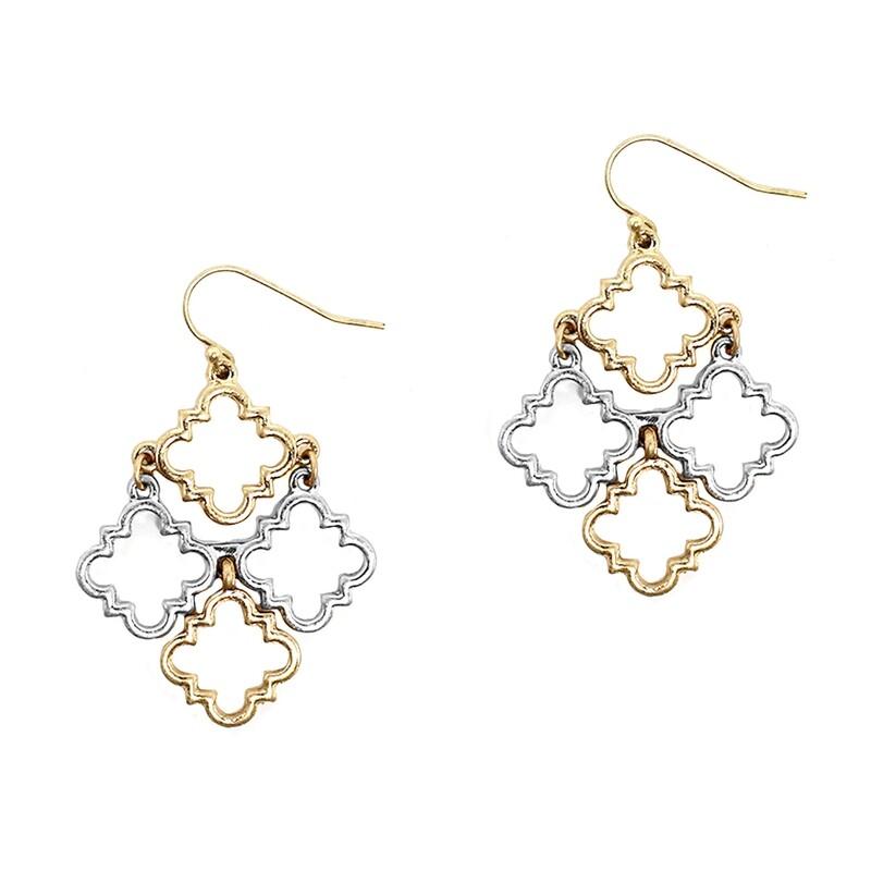 Gold/Silver Quatrefoil Cluster Earrings
