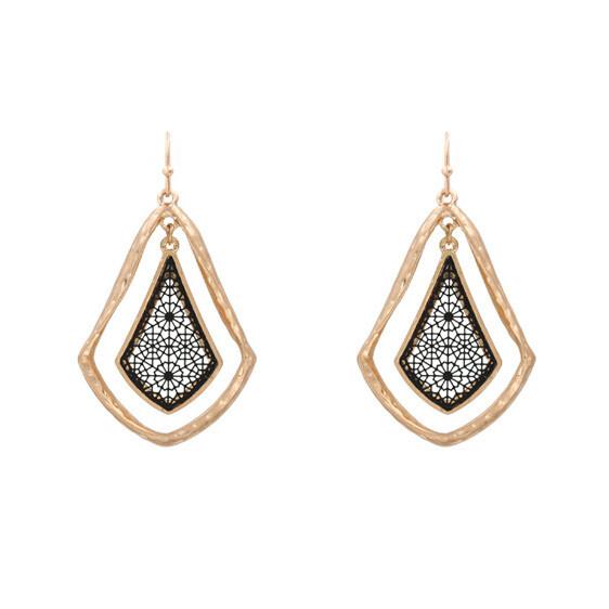 Black and Gold Filigree Earrings