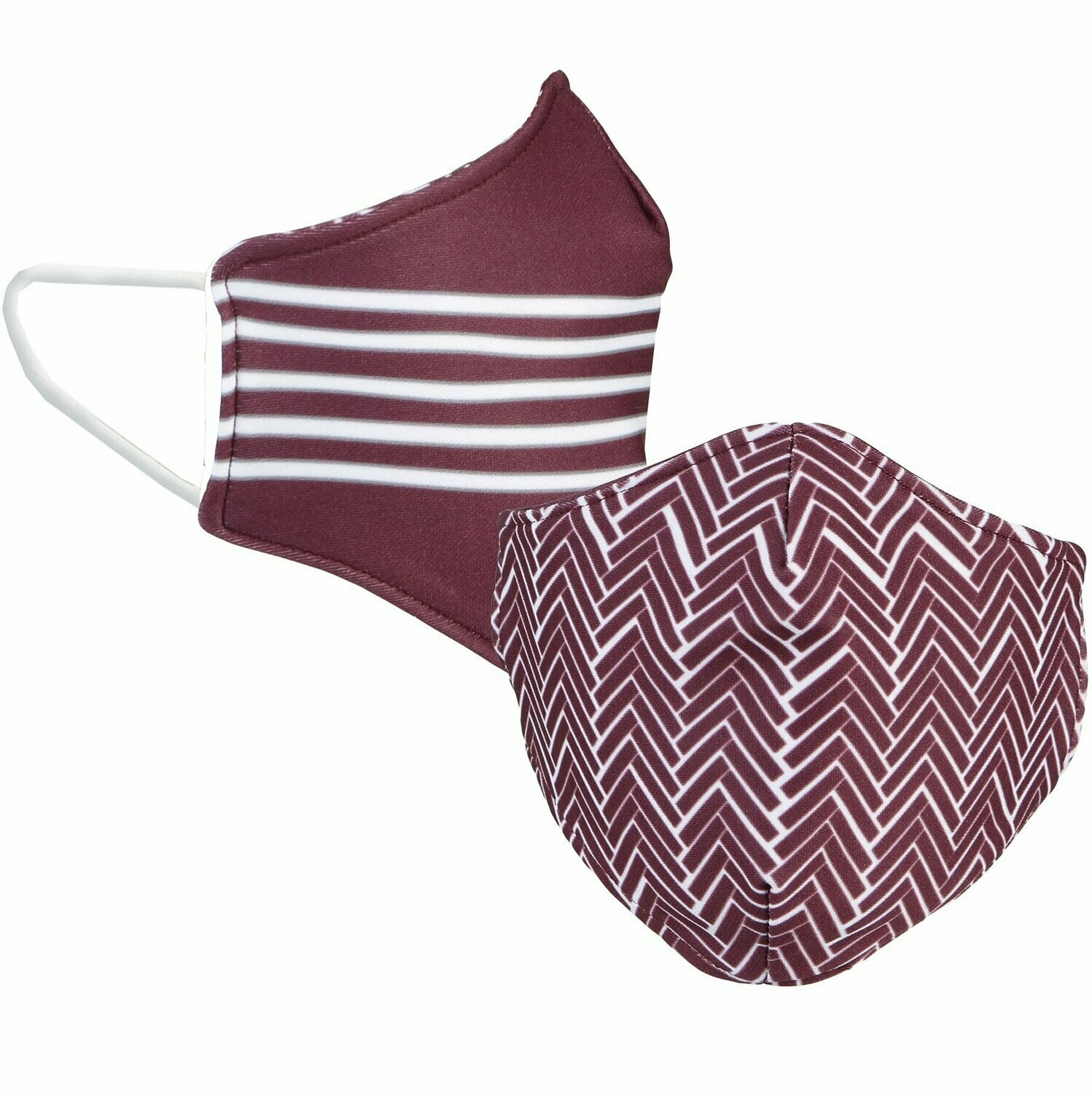 Maroon/White Face Mask