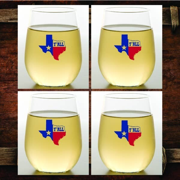 Texas Y'all Shatterproof Wine Glasses