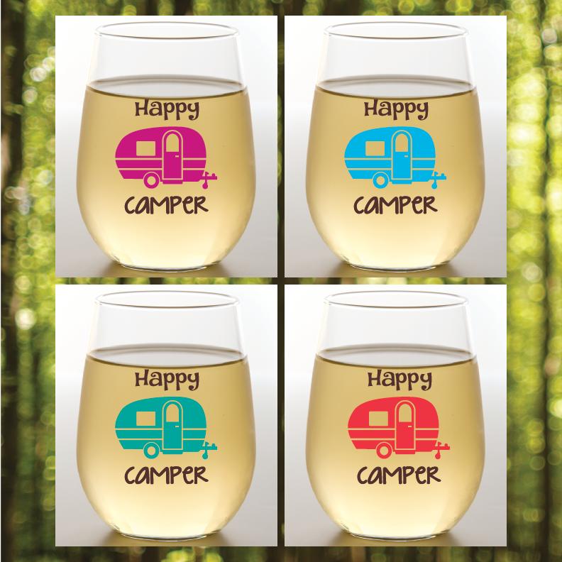 Happy Camper Shatterproof Wine Glasses