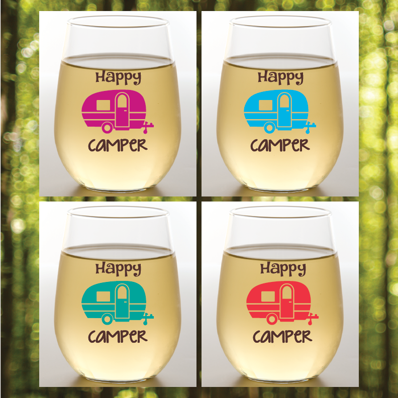 Happy Camper Shatterproof Wine Glasses