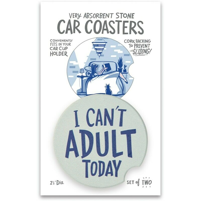 Car Coasters I Can't Adult Today Set of 2