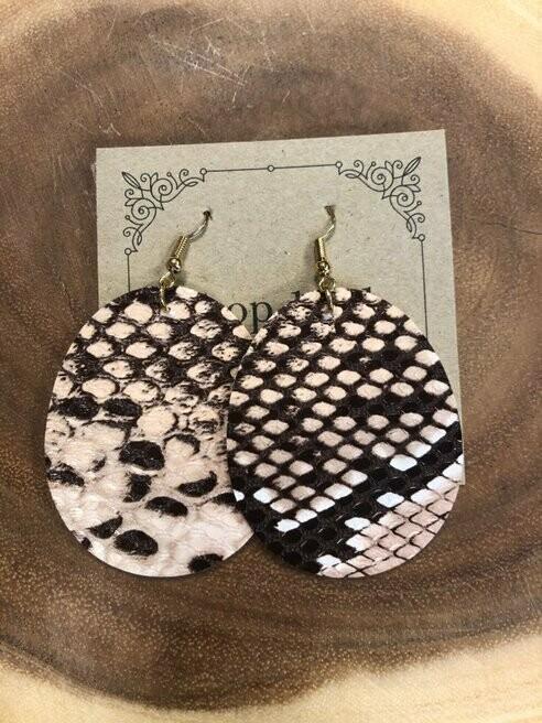 Snakeskin Print Leather Earrings