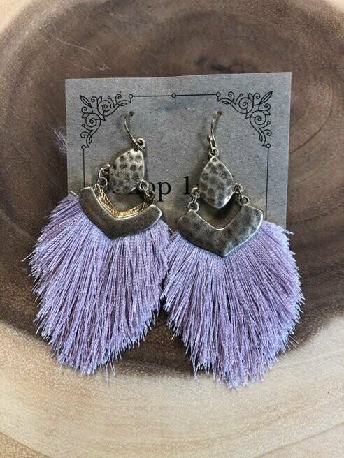 Purple Feathery Tassel Earrings