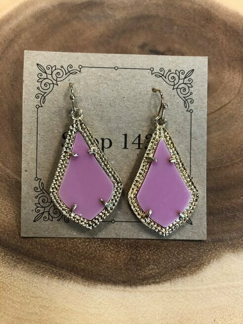 Hot Pink Angled Drop Earrings