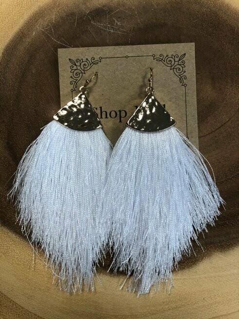 White Feathery Tassel Earrings