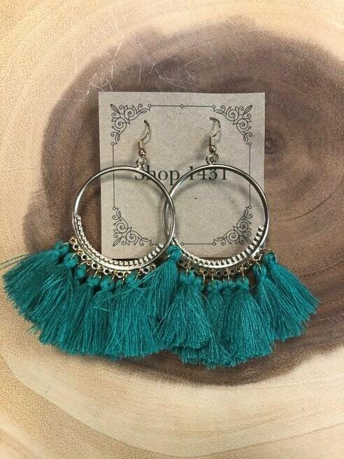 Green Feathery Tassel Earrings