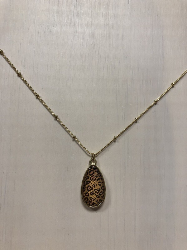 Dainty Oval Leopard Pendant on Short Metallic Gold Chain