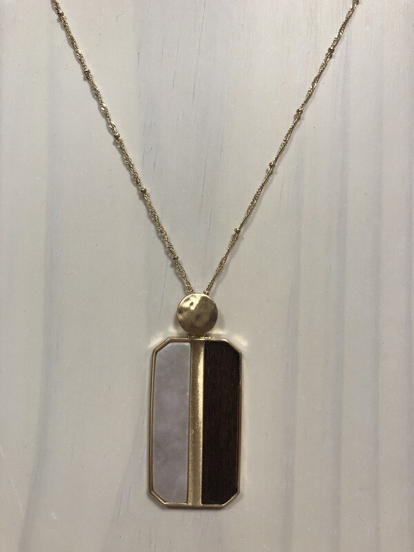 Pale Pink/Wood Rectangle Pendant on Long Gold Chain