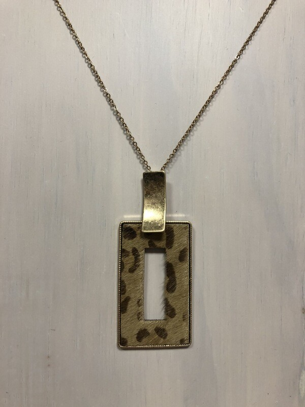 Cowhide Leopard Pendant on Long Gold Chain