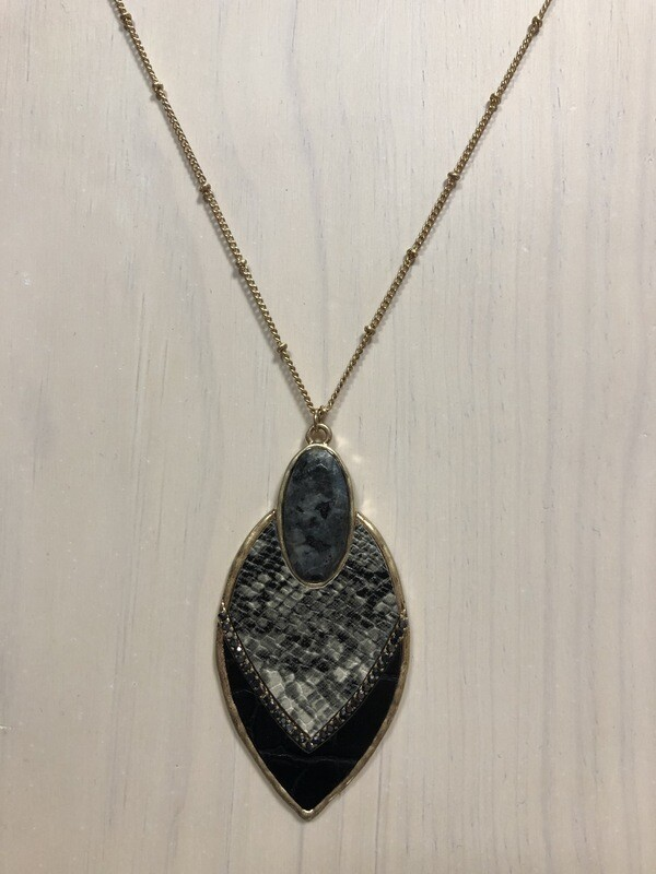 Animal Print & Stone Pendant on Long Gold Chain